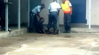 Police in Kathima Namibia beating a helpless crying for mercy suspected thief in the police station.
