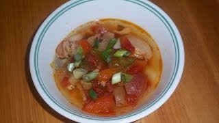 This is a Crock-Pot slow cooker recipe for spicy Mexican chicken soup. I used boneless skinless chicken thighs, red potatoes, a can of diced tomatoes, and a 1 ...