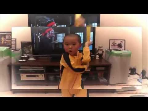My son 5year old acting Bruce Lee's nunchaku scene  2015 HD
