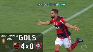 Gols - Flamengo 4 x 0 San Lorenzo (ARG) - 1ª Rodada Libertadores 2017 (Grupo 4) - 08/03/2017 Narração: Galvão Bueno, ...