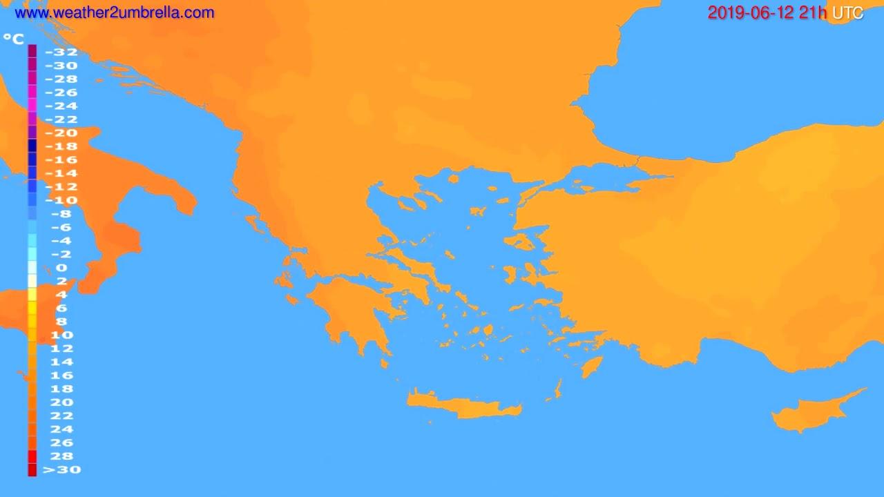 Temperature forecast Greece // modelrun: 12h UTC 2019-06-10