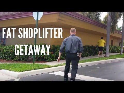 Fat shoplifter getaway