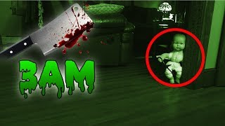 (GONE WRONG) 3 AM OVERNIGHT CHALLENGE / ONE MAN HIDE AND SEEK WITH HAUNTED BABY DOLL! (IT CHASED US)