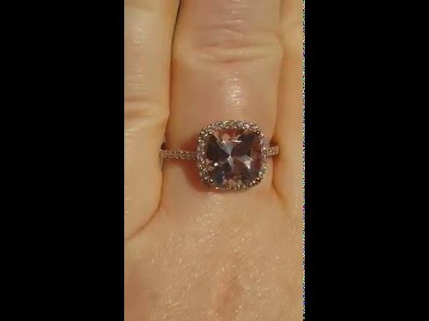 Cushion Morganite Rose Gold Diamond Halo Engagement Ring