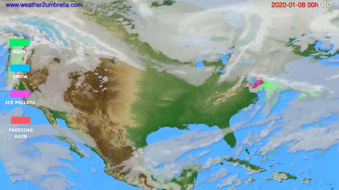 Precipitation forecast USA & Canada // modelrun: 00h UTC 2020-01-07