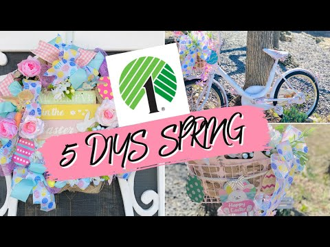 "🐰5 DIY DOLLAR TREE EASTER/SPRING DECOR CRAFTS Wreath 🐰""I Love Spring"" 14 Olivia Romantic Home DIY"