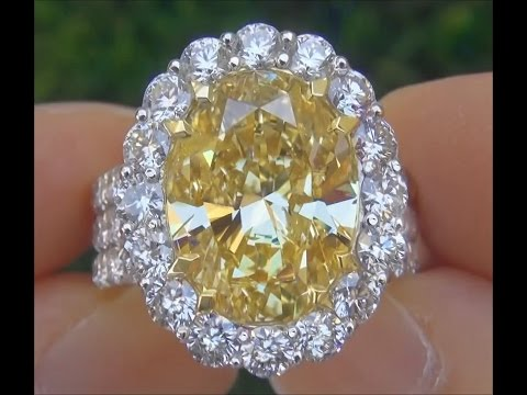 DIVORCE AUCTION - GIA Certified 12.32 Carat Fancy Yellow Diamond Engagement Wedding Ring 18k Gold HD