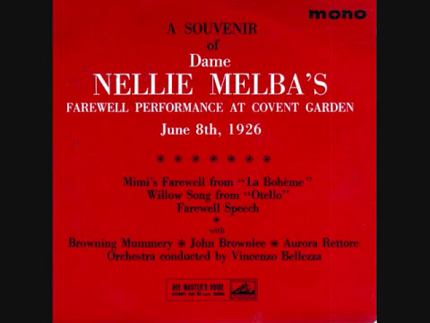 Melba - The great Dame Nellie Melba,aged 65, Australian operatic soprano,star of the late 19th and early 20th. centuries sings Farewell to Covent Garden,