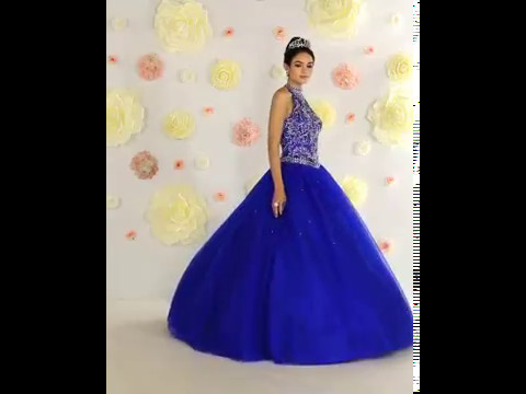 Shop MarlasFashions.com for Halter Beaded Bodice Royal Blue Ball Gown with Corset
