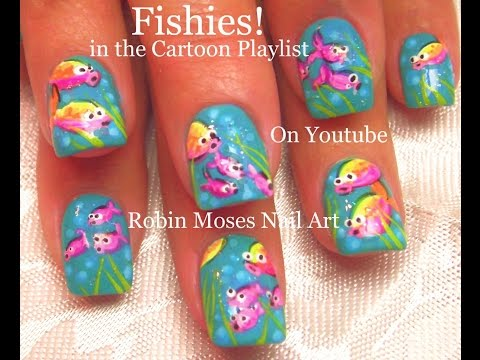 Neon Fish Nail Art! FISHIES !!!!