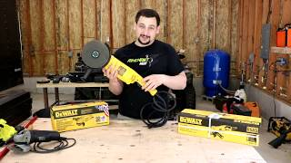 "DeWALT Angel Grinder Review!!! DWE402  D28499  D28115In this video o unbox and review 3 DeWALT angel grinders. They are the DWE402, D28499X, D28115. Over all I'm very happy with these grinders they have performed very well on the few projects that I have used them on. The best one for me to this point has been the D28115 4 ½"" to 5"" grinder.DEWALT DWE402 4-1/2-Inch 11-Amp Paddle Switch Angle Grinderhttps://www.amazon.com/DEWALT-DWE402-2-Inch-11-Amp-Grinder/dp/B00RVZ7DNO/ref=pd_sbs_469_1?_encoding=UTF8&pd_rd_i=B00RVZ7DNO&pd_rd_r=7B5GVZQ396E17XV2FW9Y&pd_rd_w=LzuYS&pd_rd_wg=kglL8&psc=1&refRID=7B5GVZQ396E17XV2FW9Y DEWALT D28499X 7-Inch/9-Inch 5.3-Horsepower Large Angle https://www.amazon.com/gp/product/B00009YUHX/ref=oh_aui_detailpage_o00_s00?ie=UTF8&psc=1 DEWALT D28115 Heavy-Duty 4-1/2-Inch/5-Inch High Performance Grinder with Trigger Griphttps://www.amazon.com/DEWALT-D28115-Heavy-Duty-Performance-Grinder/dp/B000Q968EW/ref=pd_sim_469_5?_encoding=UTF8&pd_rd_i=B000Q968EW&pd_rd_r=YPJKBVP315WBX4QRCBG2&pd_rd_w=bNmcC&pd_rd_wg=nwgF3&psc=1&refRID=YPJKBVP315WBX4QRCBG2"
