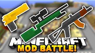 Minecraft EPIC GUN MOD BATTLE! (Minecraft Flan's Mod) w/ PrestonPlayz & The Pack!