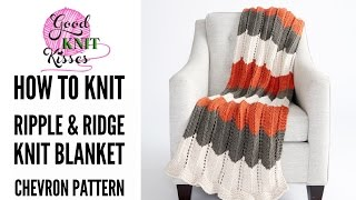 """Learn how to knit the Bernat Ripple and Ridge Knit Blanket (Chevron Stitch) from Yarnspirations featuring the new Bernat Beyond yarn! pattern and blog LINK HERE https://goo.gl/YOjnGcThe pattern falls in the EASY SKILL level for knitting.  I cover all stitches, including the increase and decrease, and weaving tails so if this is your first big project you will have all skills needed in this video.  If you have never knit a stitch before I do recommend learning the longtail cast on, knit and purl with one of my slower videos first.Let's knit this blanket together! Download your pattern at the blog link above. YarnBernat Beyond color Cream (7 balls). Contrast ABernat Beyond color Slate (4 balls). Contrast B Bernat Beyond color Pumpkin (4 balls). Contrast C *For Lovey size - 1 ball each color.Needles & Supplies• US 11 (8mm) circular needle with at least 40"""" • scissors• tapestry needleSkill LevelEasySizeApprox 50½"""" x 60"""" [128.5 x 152.5 cm]. (Baby """"Lovey"""" size 15""""x19"""")Skills demonstrated in tutorialLongtail Cast-onKnit StitchPurl StitchK2tog - decreaseYO - increaseWeaving in endsThe blanket begins with a garter border then jumps right into the ripples.  The ripples are created with a simple 2 row repeat that includes the K2tog (knit 2 stitches together) increase and the YO (yarnover) decrease.  That's right only two distinct rows to learn!  My video tutorial walks you through the entire pattern from start to finish.  We'll spend most of our time focusing on the 2 rows of the ripple pattern to make sure you have a good understanding of the techniques.  Once you begin working, the ripples will fall off your needles quickly and you'll reach the first color change before you know it.  Then I'll show you how to add in a new color (2 ways) so whatever colors you choose your transitions will be smooth.  We'll also discuss and show how to weave in the tails for color changes on a garter stitch and for the ending tail. Lots of tips included!If you need a slower video on basic stit"""