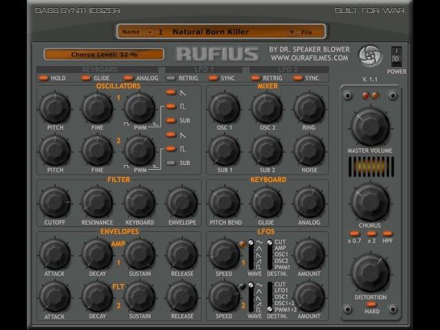 RUFIUS VSTi Demo - FREE VST plugin featuring 2 sub-oscillators