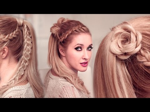 High ponytail hairstyles for long hair: FLOWER + braided goddess UPDO tutorial