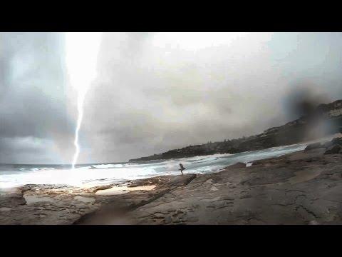 Holy! Lightning Almost Strikes Girl In Sydney