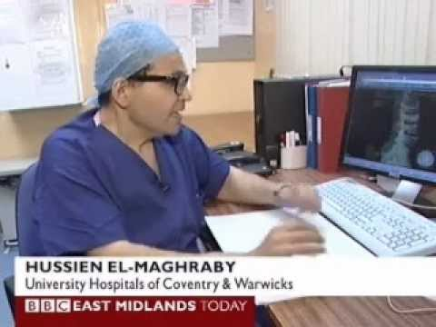 Keyhole Spinal Surgery Lumbar fracture BBC news Hussien El-Maghraby UHCW
