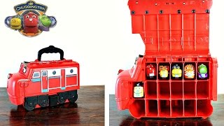 Hi Chuggington Fans!Today I am bring you the Chuggington Stack Track Wilson Carry Case!This carry case hold up to 17 trains but today I am only showing 6 -- Skylar, Brewster, Tyne, Koko, Wilson and Frostini.Hope you enjoy!