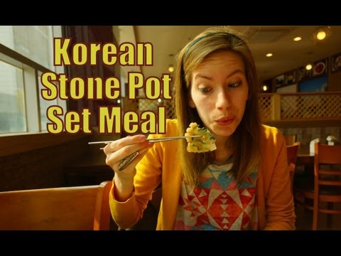 Feasting on a delicous Stone Pot Korean Set meal in Yongin, Korea