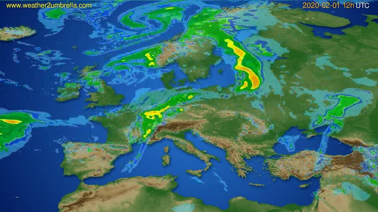 Radar forecast Europe // modelrun: 00h UTC 2020-02-01