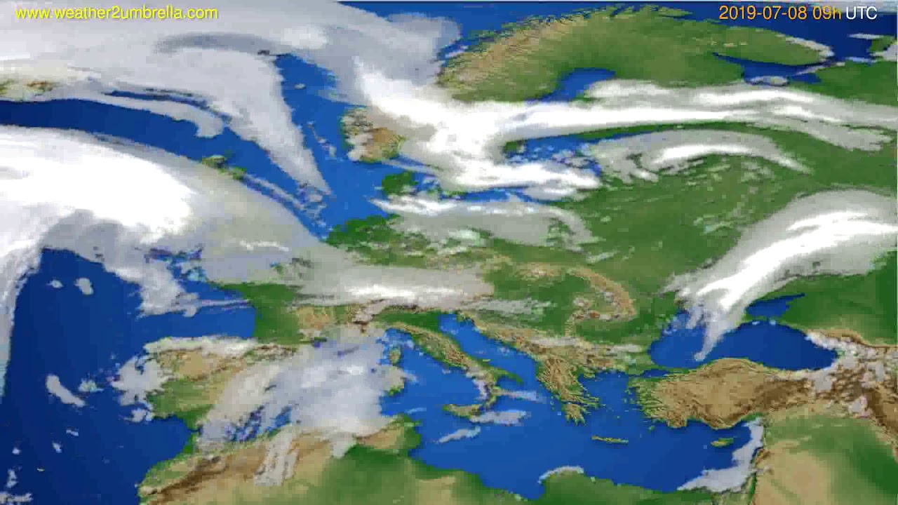 Cloud forecast Europe // modelrun: 12h UTC 2019-07-06