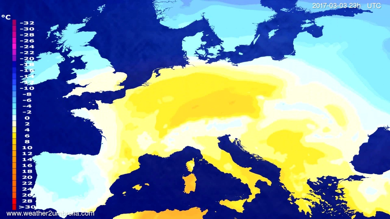 Temperature forecast Europe 2017-02-28