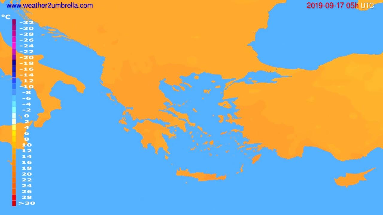 Temperature forecast Greece // modelrun: 00h UTC 2019-09-15