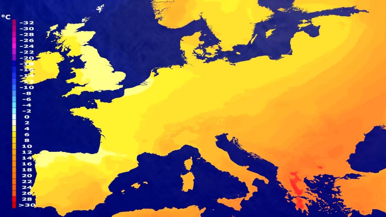 Temperature forecast Europe 2016-06-15