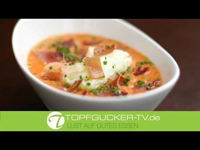Gazpacho Andaluz - Kalte Gemüsesuppe mit getrockneten Serrano Schinken