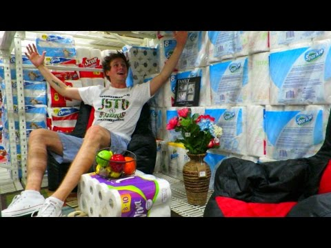Two guys make full on home renovations inside a Walmart toilet paper aisle