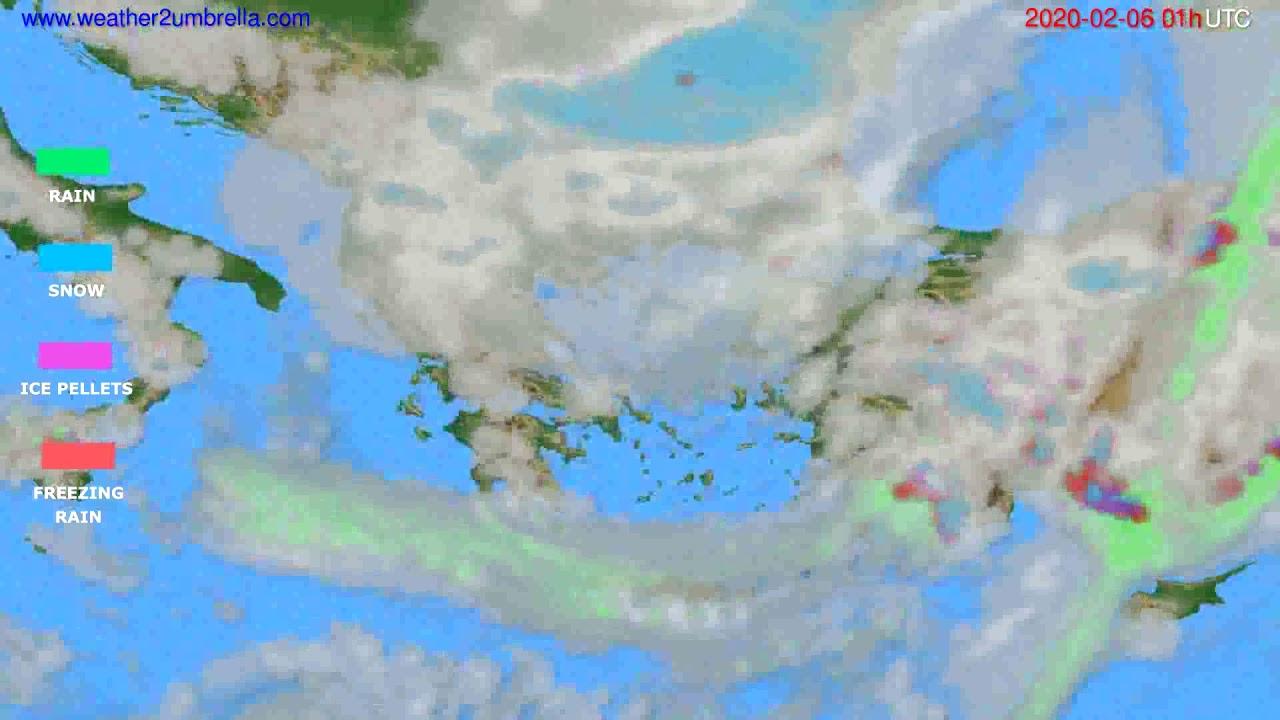 Precipitation forecast Greece // modelrun: 12h UTC 2020-02-04