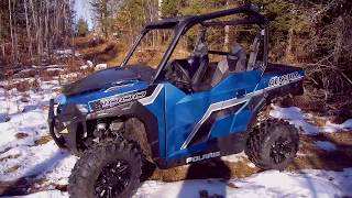 8. 2018 Polaris General on a Hilly Woods Trail