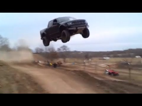 jumps - Rednecks with Paychecks jumps their Ford Raptor 90 feet and destroys the truck. Hit the jump at about 60 mph and way over shoots the landing. I did not actua...