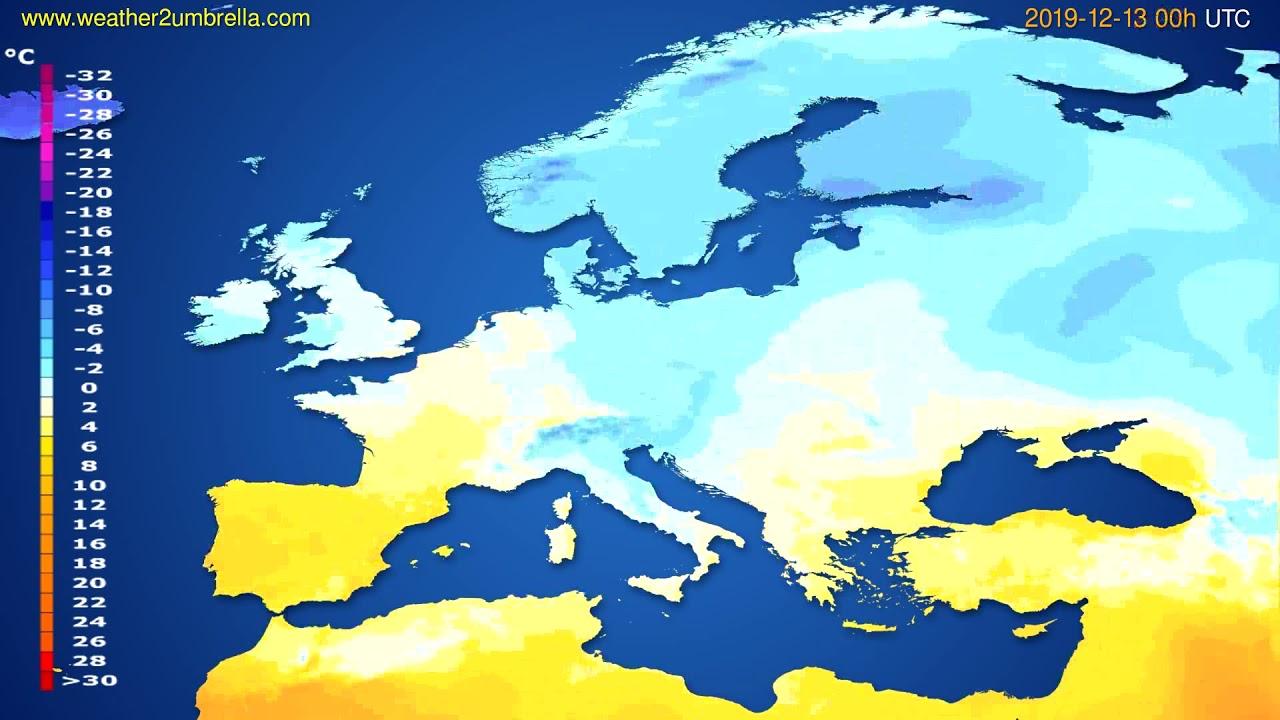 Temperature forecast Europe // modelrun: 00h UTC 2019-12-12