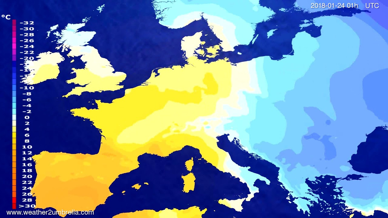 Temperature forecast Europe 2018-01-21