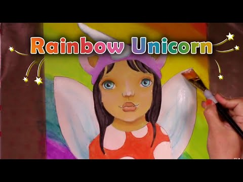 Acrylic painting for beginners - Lisa Frank Collaboration - Drawing a unicorn girl