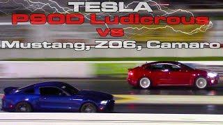 2016 Tesla Model S P90D Ludicrous Refresh runs 11 flat vs Mustang, Z06, Camaro Drag Racing 1/4 Mile by DragTimes