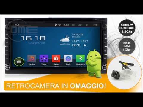 Autoradio 2DIN Android 4.4 con Navigatore, WiFi, DVD microSD e Bluetooth
