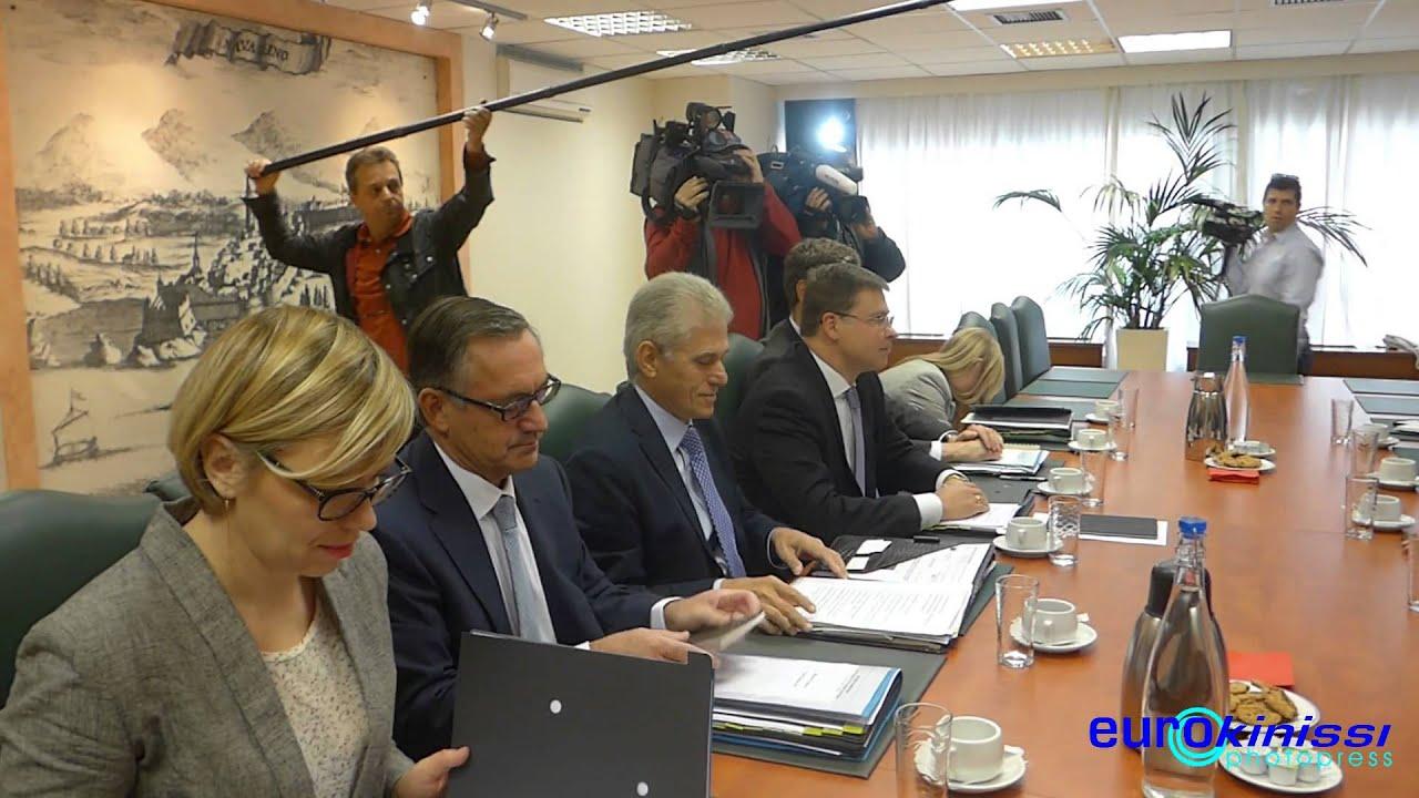 Συναντήσεις του αντιπροέδρου της Κομισιόν Βάλντις Ντομπρόφσκις με τους Γ. Σταθάκη και Ευ. Τσακαλώτο
