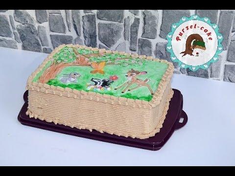 Bambi Torte/ Fondant Decke bemalen/ Tortenaufleger/ Motivtorten/von Purzel-cake