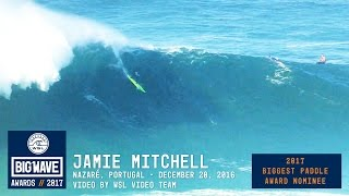Jamie Mitchell (Currumbin, Queensland, Australia) paddles into a contender during the Big Wave Tour event at Nazaré, Portugal...
