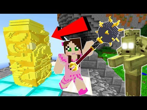 Minecraft: PROTECT THE GOLDEN STATUE!!! (SURVIVAL WITH EPIC WEAPONS!) Custom Map