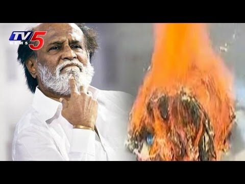 Rajinikanth's Effigy Burnt Infront of His House | Is Rajinikanth Kannadiga?