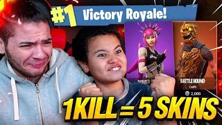 1 KILL = 5 FREE SKINS FOR MY 9 YEAR OLD LITTLE BROTHER! 9 YEAR OLD PLAYS SOLO FORTNITE BATTLE ROYALE