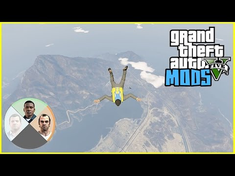 GTA 5 Mods Gameplay:Switching Between Characters While Flying/Jumping/parachuting Off A Plane