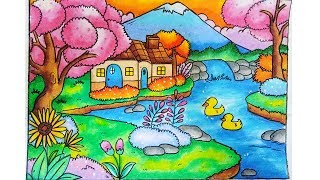 Download Video Cara gradasi warna oil pastel crayon - menggambar pemandangan dengan Rumah dan Air terjun Mini MP3 3GP MP4