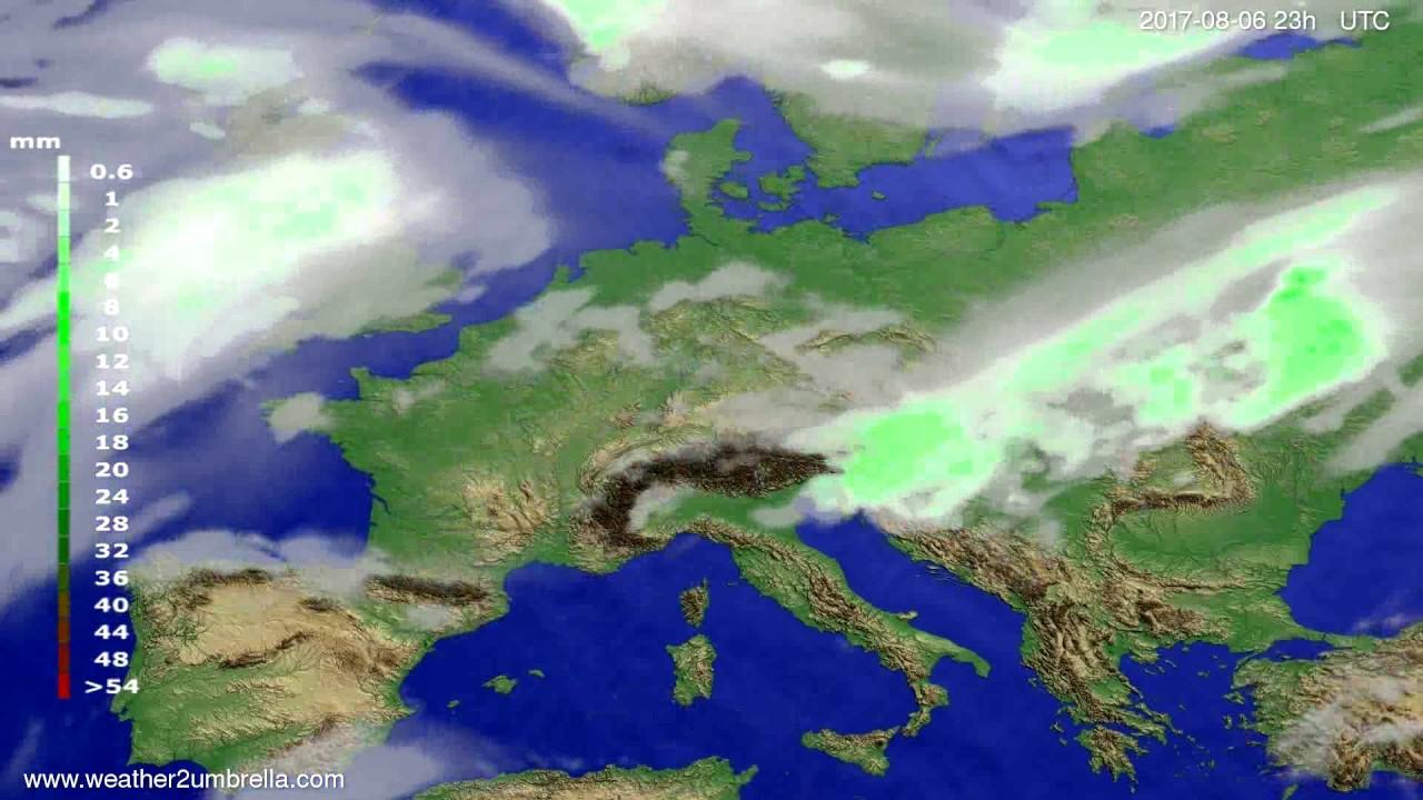 Precipitation forecast Europe 2017-08-03