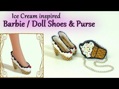 Barbie / Doll Ice Cream Shoes & Purse - Tutorial (видео)