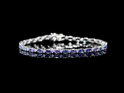 女裝14K白金6克拉(總重)坦桑石鑲鑽石手鍊