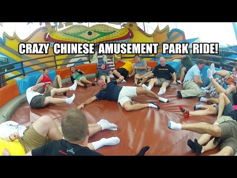 Crazy Chinese Tagada Amusement Park Ride POV INSANE Florland China